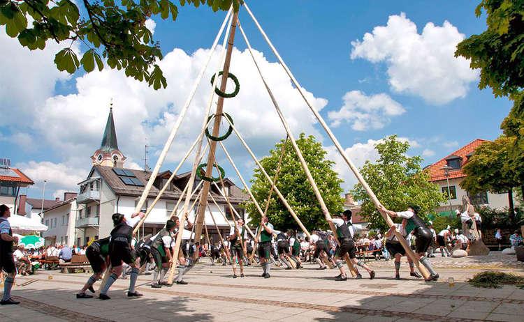 Maibaumaufstellen in Teisendorf